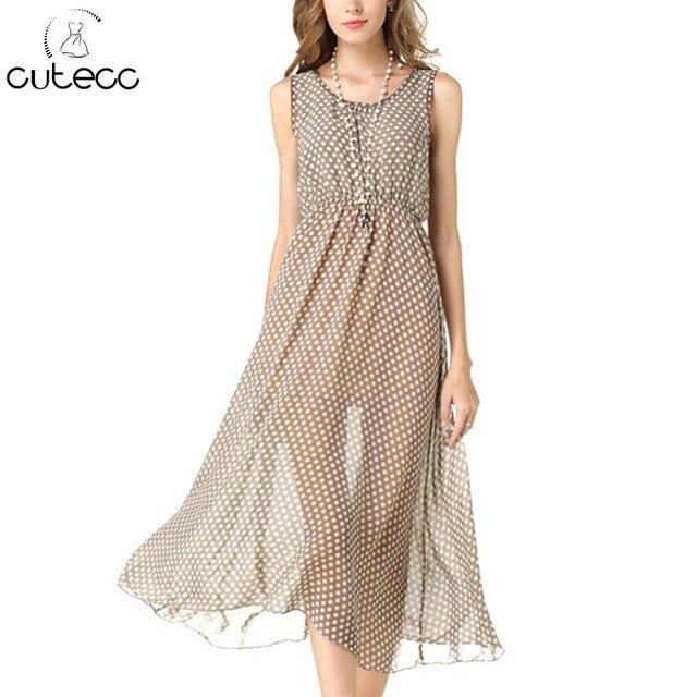2d47925c7f3 Летний Повседневный стиль женские платье плюс размер o-образным вырезом без  рукавов в горошек печати