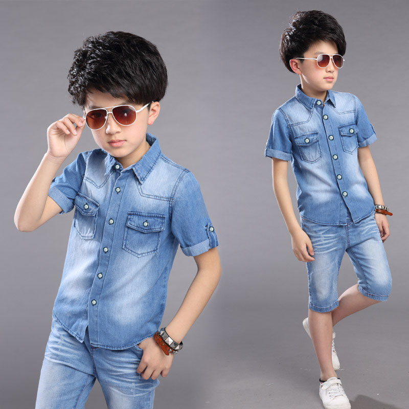 Kids Teenage Children Boys Summer Clothing Cotton Denim Shirt Jeans Set Tracksuit For Boys Clothes Sets New 2018 5 7 10 15 Years 2pcs children outfit clothes kids baby girl off shoulder cotton ruffled sleeve tops striped t shirt blue denim jeans sunsuit set