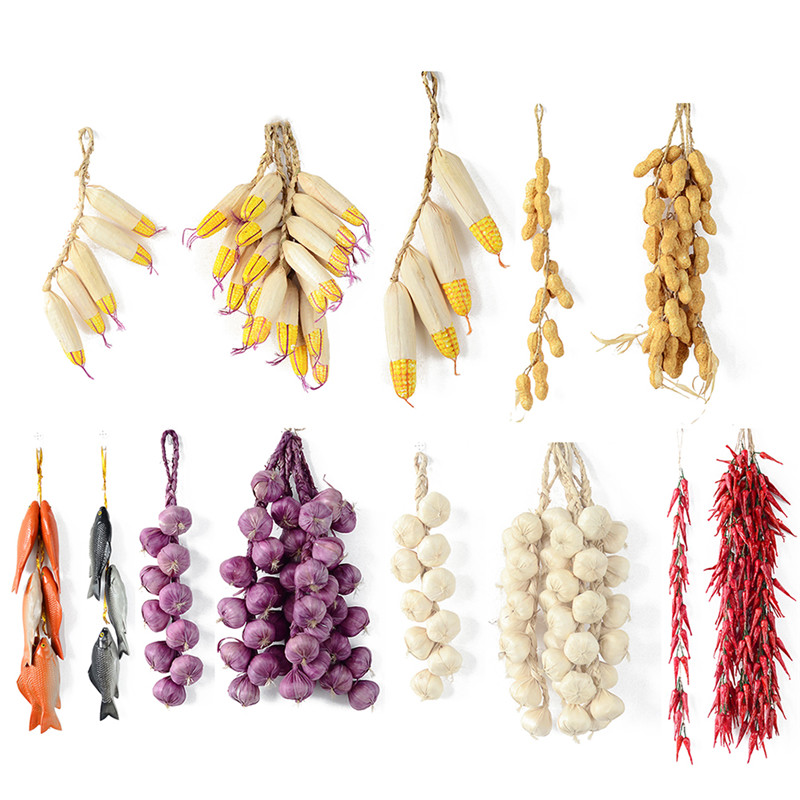 Artificial Vegetables Foam Plant Garlic Fake Onion Corn Fishes Hanging String Home Decoration Photography Props