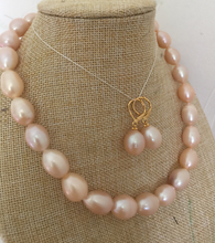 Fashion new 13-15mm south sea baroque pink pearl necklace &earring set