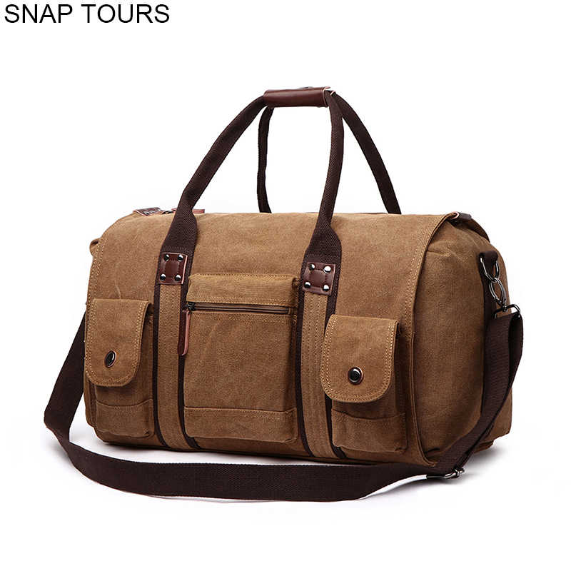 7d50596029c SNAP TOURS 2018 Large Capacity Canvas Travel Bag For Men Fashion Luxury  Male Weekend Duffel Bag