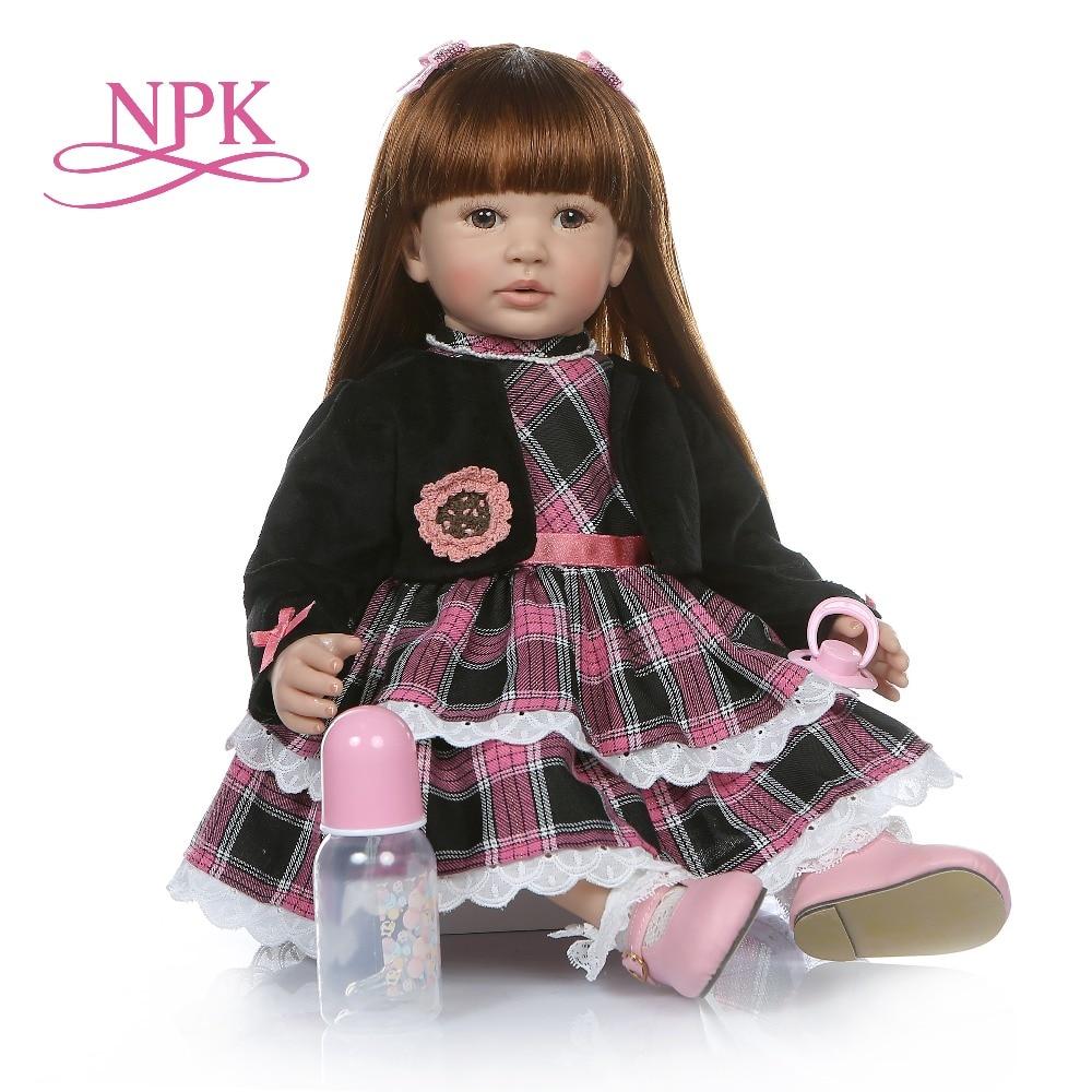 6 mes tamaño bebé real 60 CM renace niño chica realista de silicona de vinilo bebe muñeca de pelo largo y recto juguete de la educación-in Muñecas from Juguetes y pasatiempos    1