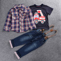 Children's Clothing Sets Spring&Autumn Baby Boy Clothes Suit Long Sleeve Plaid Shirts+car Printing Blouse + T-shirt + jeans 3pcs