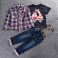 Conjuntos de Ropa para niños de Primavera y Otoño Bebé Ropa Traje Impresión Blusa de Manga Larga Camisas de Tela Escocesa + coche + T-shirt + jeans 3 unids