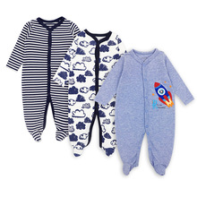 3 PCS Mother Nest Brand Baby Romper Long Sleeves 100% Cotton Baby Pajamas Cartoon Trykt Nyfødte Baby Girls Boys Clothes