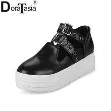 DoraTasia 2018 Tavaszi Őszi Divat Buckle Flat Vastag cipő cipő Női nagy méret 31-43 Alkalmi cipő nők