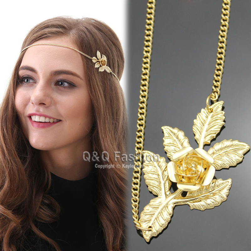 Roman Great Gatsby Gold Laural Leaf Flower Head Chain Hair Dress Piece Band Jewelry 2017 New