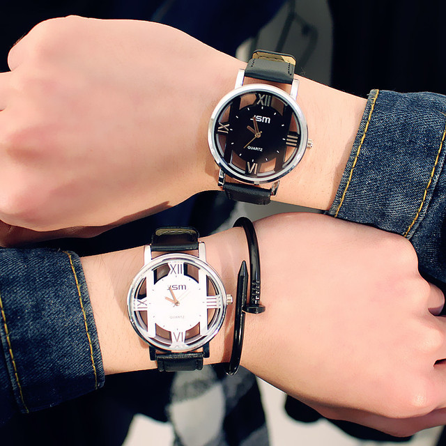 Hot simple men and women watches quartz watch personality fashion double-sided h