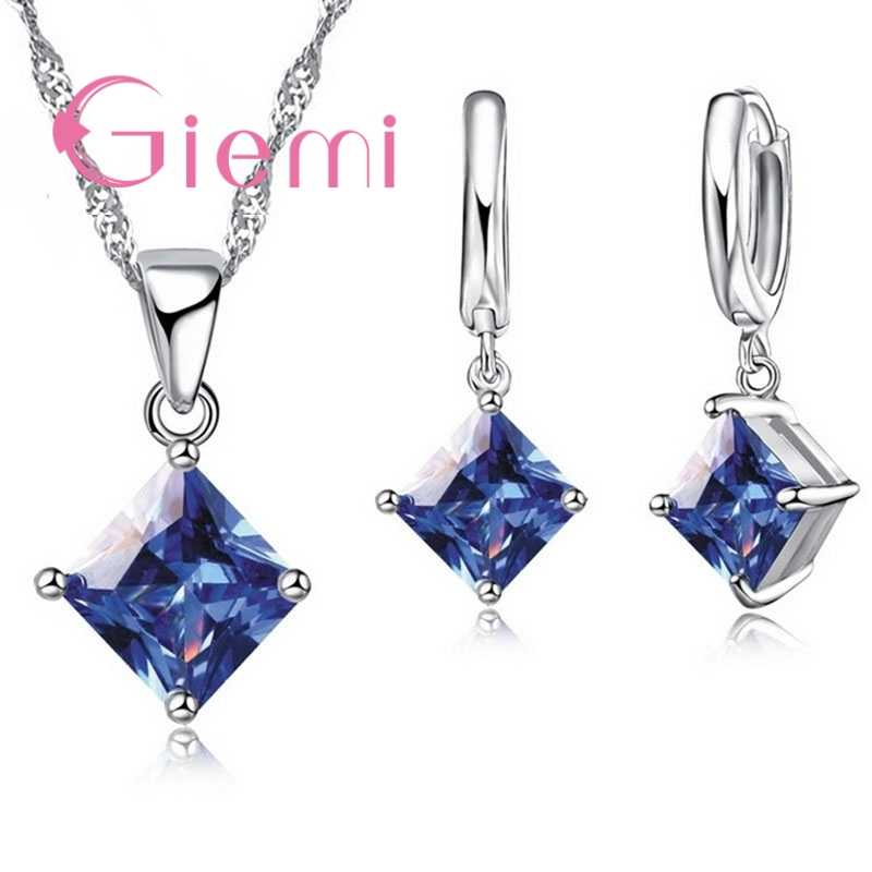 925 Sterling Silver Pendant Earrings Jewelry Sets 8 Colors Women Beautiful Necklace Set Lover Gift Square Crystal Bijoux