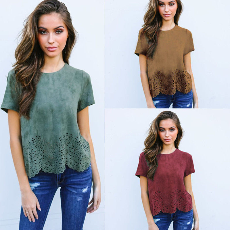 Fashion Women T-shirt Suede Top Short Sleeve Casual O-neck Loose T-shirt Summer New Women Clothes Tops jeans con blazer mujer