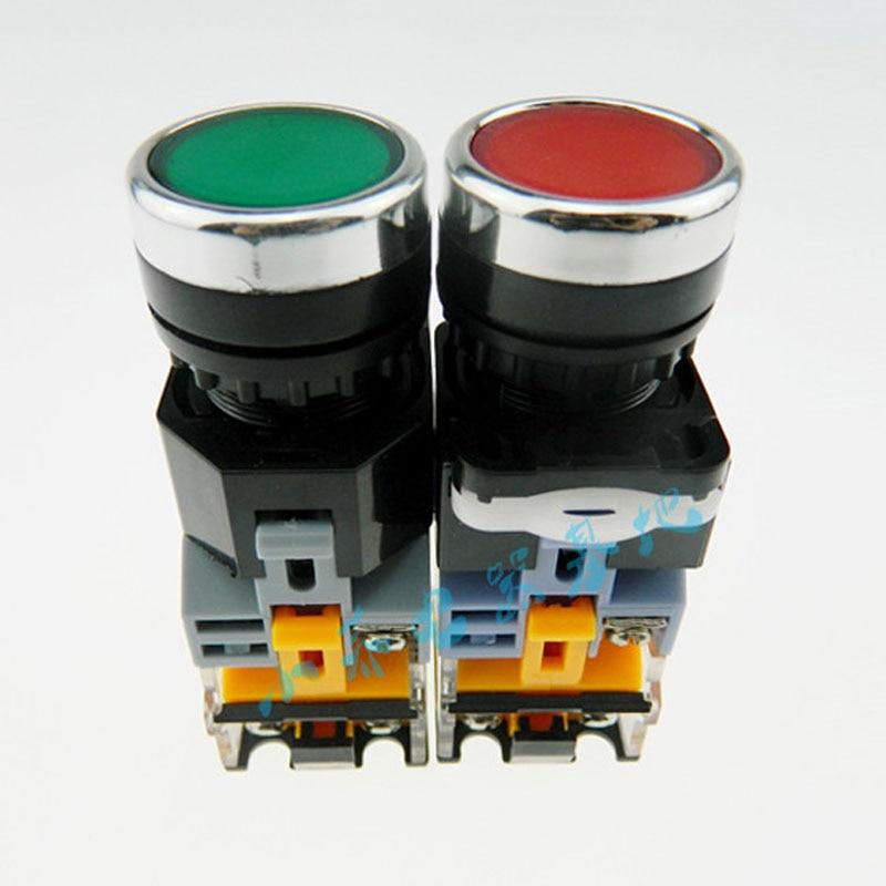 LA38-11D  Illuminated Push Button Switch Self-reset Control Button Start Switch 12V 24V 220V 380V 22MM