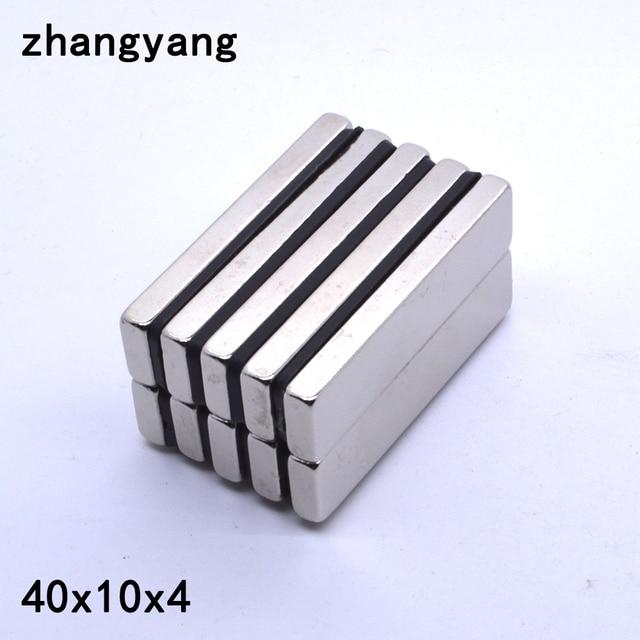 1/5/10/20/50Pcs 40x10x4 Neodymium מגנט 40mm x 10mm x 4mm N35 סיבוב NdFeB סופר עוצמה חזק מגנטי קבוע imanes