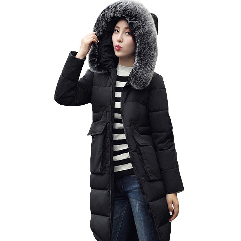 2016 yeni varış sıcak kış bayan ceket Aşağı Parka Kadınlar büyük kürk ceket uzatılmış kadınlar ince ceket hoodies