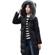 2016 new arrival warm winter ladies jacket Down Parka Women big fur coat lengthened women slim jacket hoodies