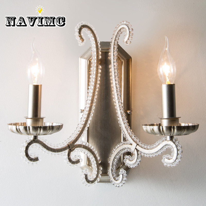 American Bedroom led Crystal Wall Lamp Living Room Wall Light Iron Bedside Lamp Modern Wall Sconces for Hallway Balcony contemporary elegant crystal drops wall light living room bedroom bedside lamp mirror hallway light fixtures wall sconces wl194