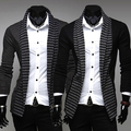 Men Leisure Striped Long Sleeve Knitted Cardigan Casual Outwear Coat Jacket