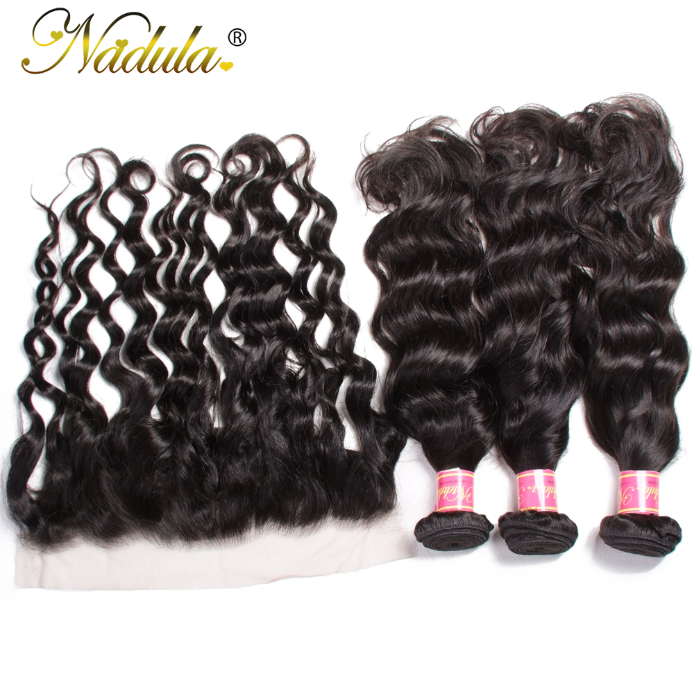 Nadula Hair Natural Wave Bundles With Frontal  s 3 Bundles With Closure 10-26inch  s 4