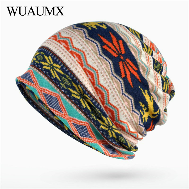 Wuaumx Multifunction Skullies Beanies Hat For Women Men Autumn Winter Turban Hats Print Ring Scarf Bonnet Femme czapka zimowa