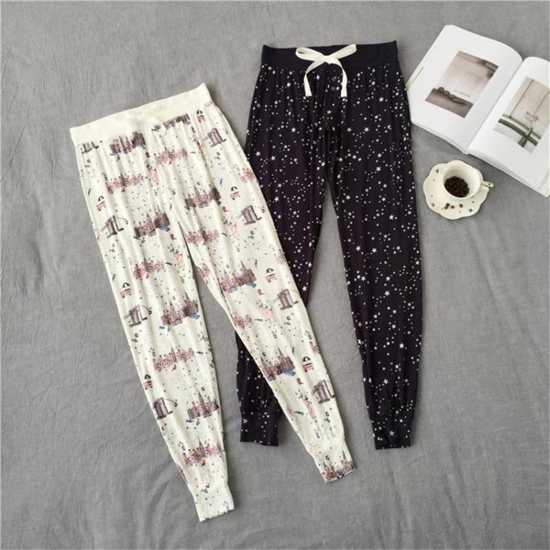 Spring simple Cartoon print modal women sleep bottoms plus size kawaii Lounge pants for women Home trousers casual Sleep pants