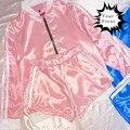 2016 harajuku симпатичные unif omighty хип-хоп стиль розовый шелк куртку женщины брусья куртка + короткие шорты комплект