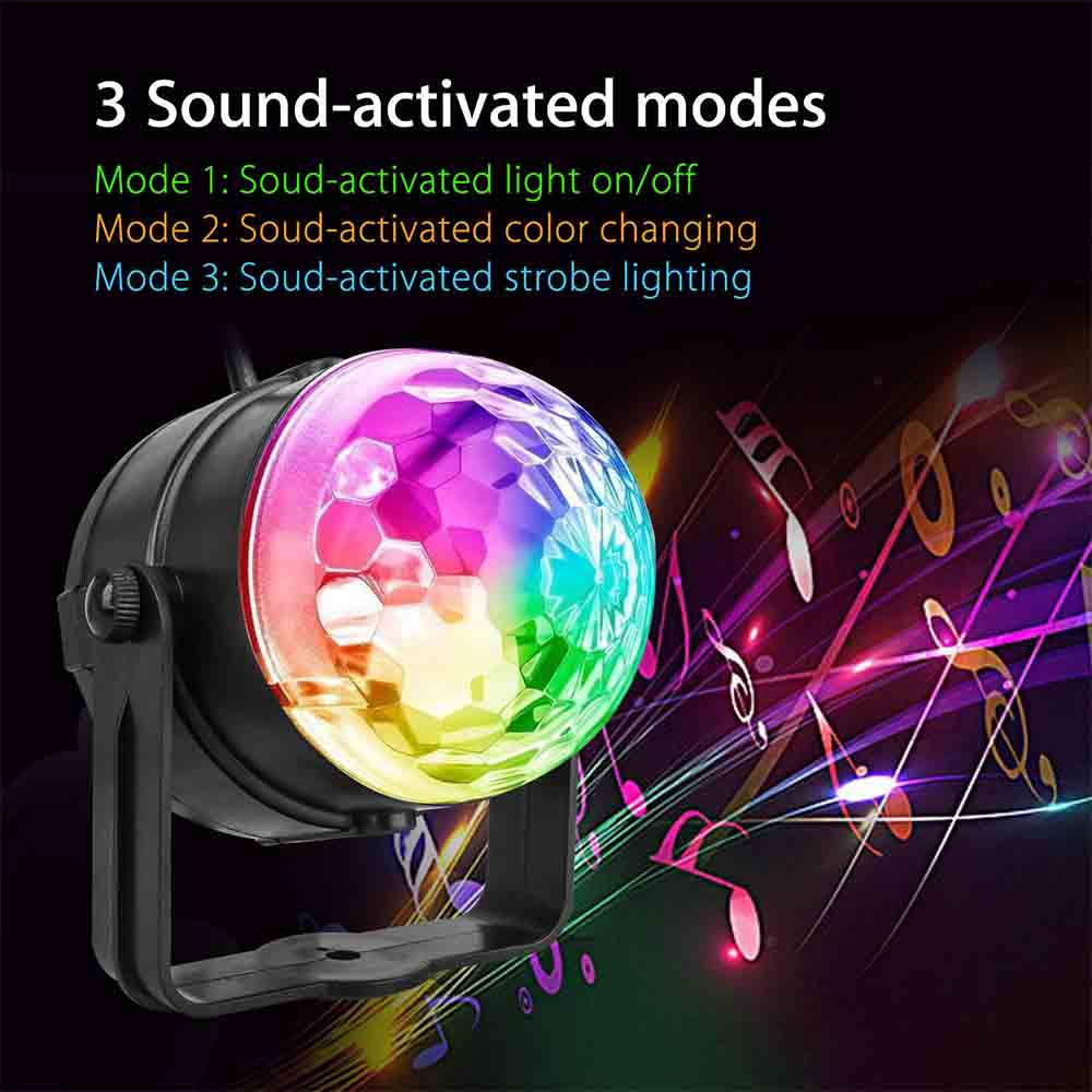 USB RGB LED Stage Lights Sound Activated Rotating Disco Ball Party Lights Strobe Light For Christmas Home KTV Xmas Wedding Show