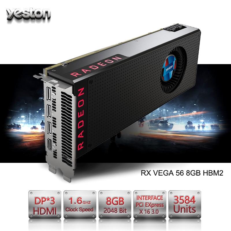 Yeston Radeon RX VEGA 56 8GB HBM2 2048 bit Gaming Desktop computer PC Video Graphics Cards support PCI-E X16 3.0 HDMI/DP