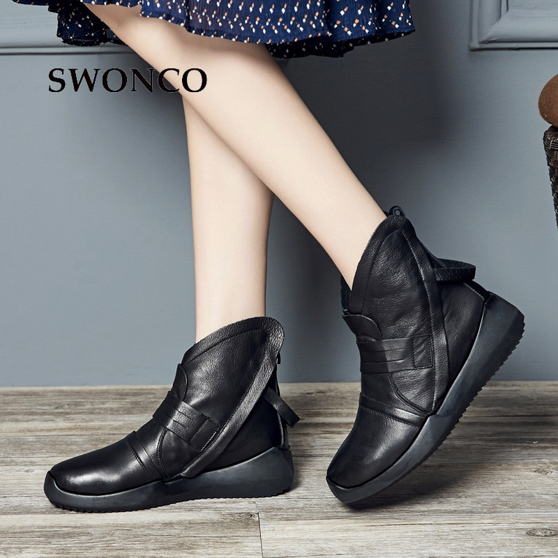 Black 2018 Plush Swonco Retro Autumn Las Mujeres Invierno Señoras Mujer black Toe Botas Genuino Otoño Cuero Zapato Botines De Winter wZ1FqIZ