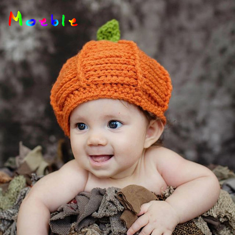 Crochet BABY Christmas Pumpkin Hat Beanie Infant Baby kids Knitted Hat Bonnet Crochet Boy Girl Pumpkin Hat CAP FOR WINTER
