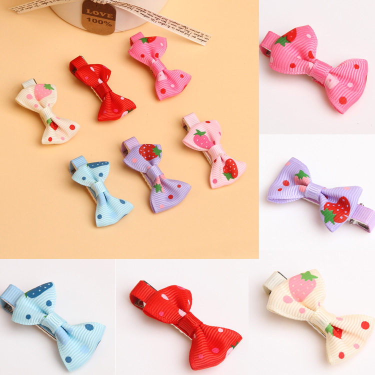 Newly Arrival Girls Hair Clips Strawberry Headdress Ribbon Bows 6