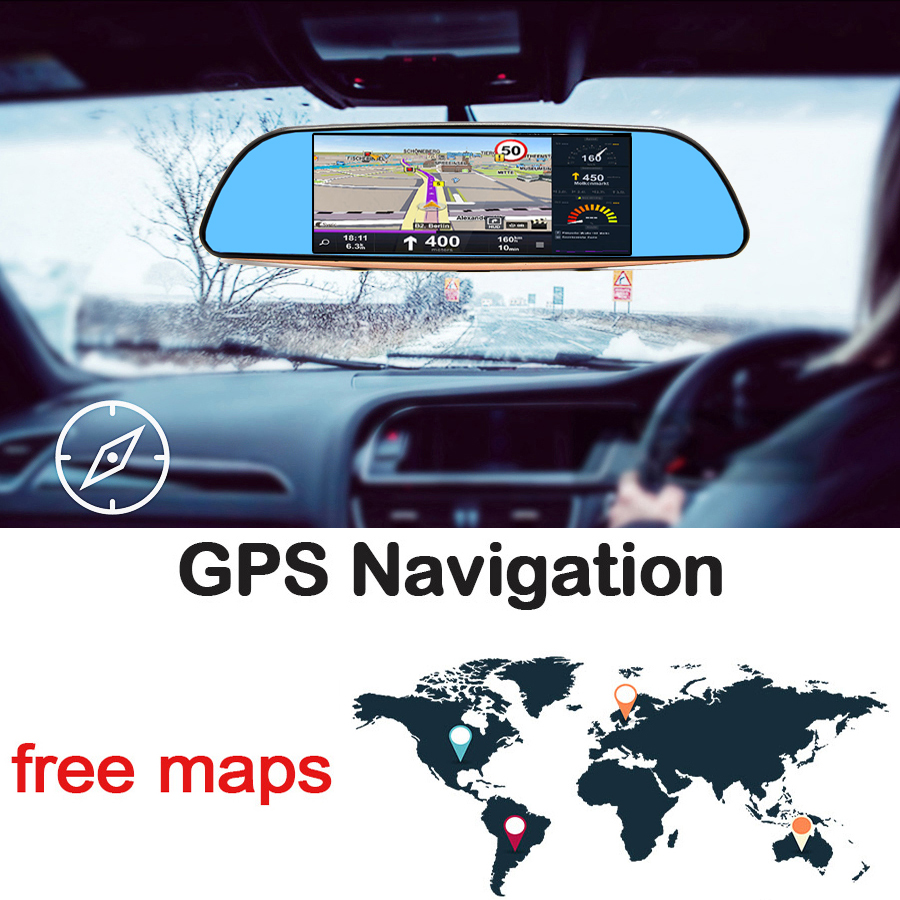 """Image 3 - Bluavido 7""""IPS 3G Android Car rearview mirror DVR GPS Navigation full hd 1080P video Camera recorder WiFi Bluetooth Car detector-in DVR/Dash Camera from Automobiles & Motorcycles"""