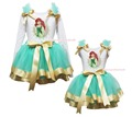 Mermaid Princess Paint White Top Aqua Blue Gold Satin Trim Skirt Girls Set NB-8Y