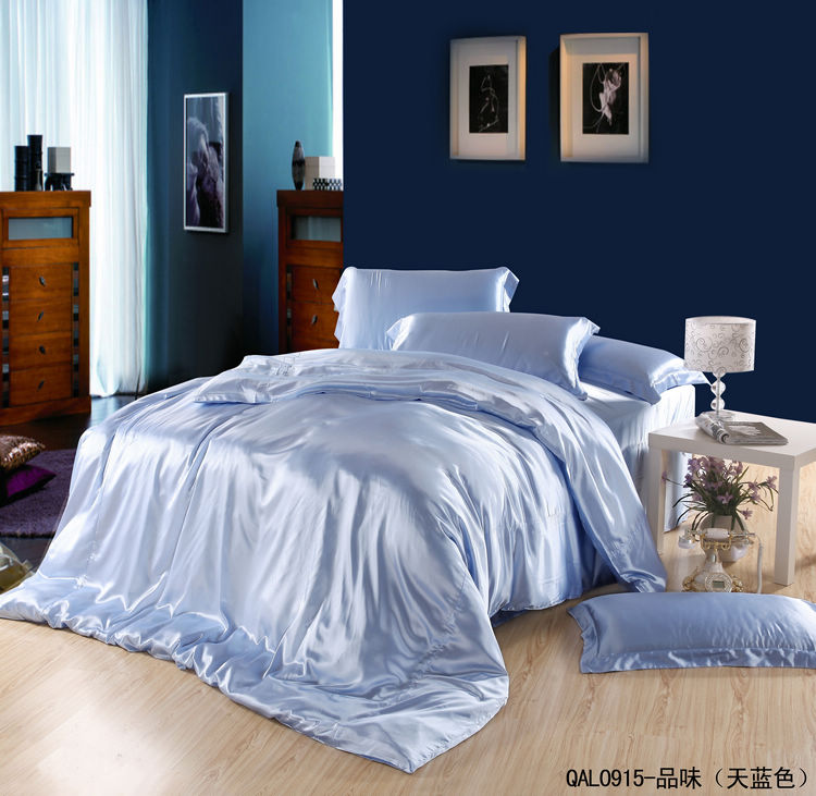 Light Blue Silk Satin Bedding Sets Sheets King Size Queen