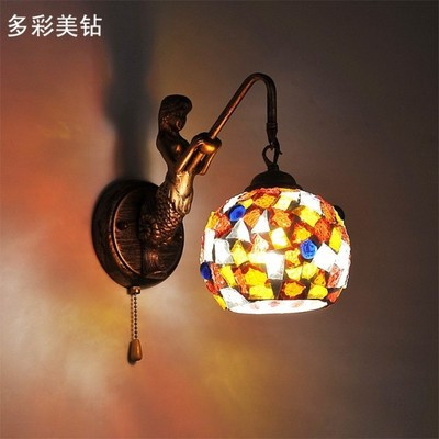 Vintage mermaid mosaic bedroom wall lamp stained glass bar light ...