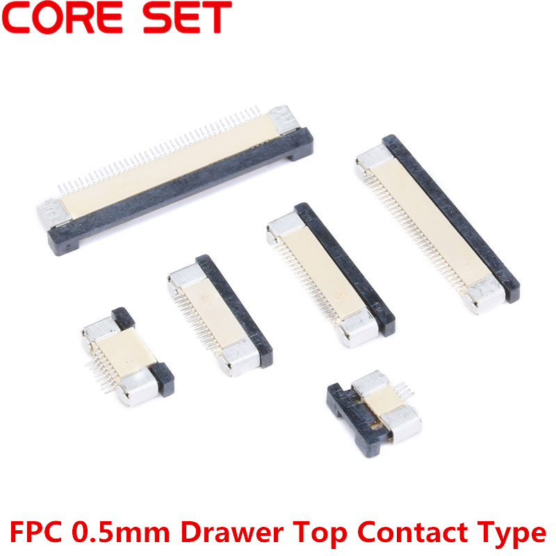 10PCS/Lot FPC Connector Socket FPC 0.5mm Drawer Top Contact Type 4P 6P 8P 10P 12P 14P 16P 18P 20P 24P 26P 30P 32P 34P 40P