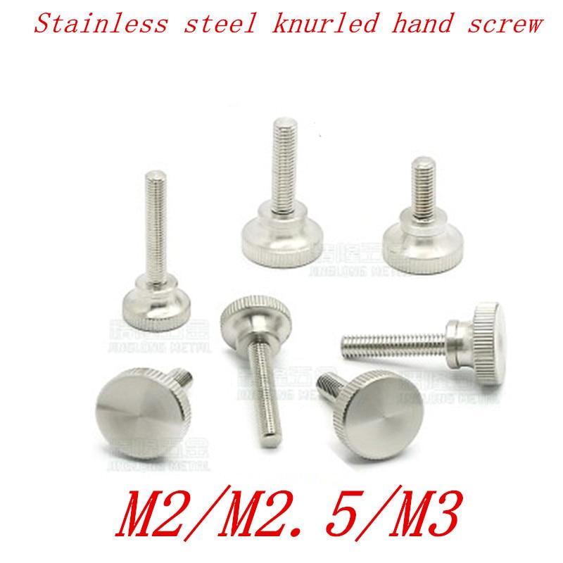 10pcs M2 M2.5 M3 Stainless steel step knurled thumb screw Hand Tighten Curtain Wall Glass Lock Screws