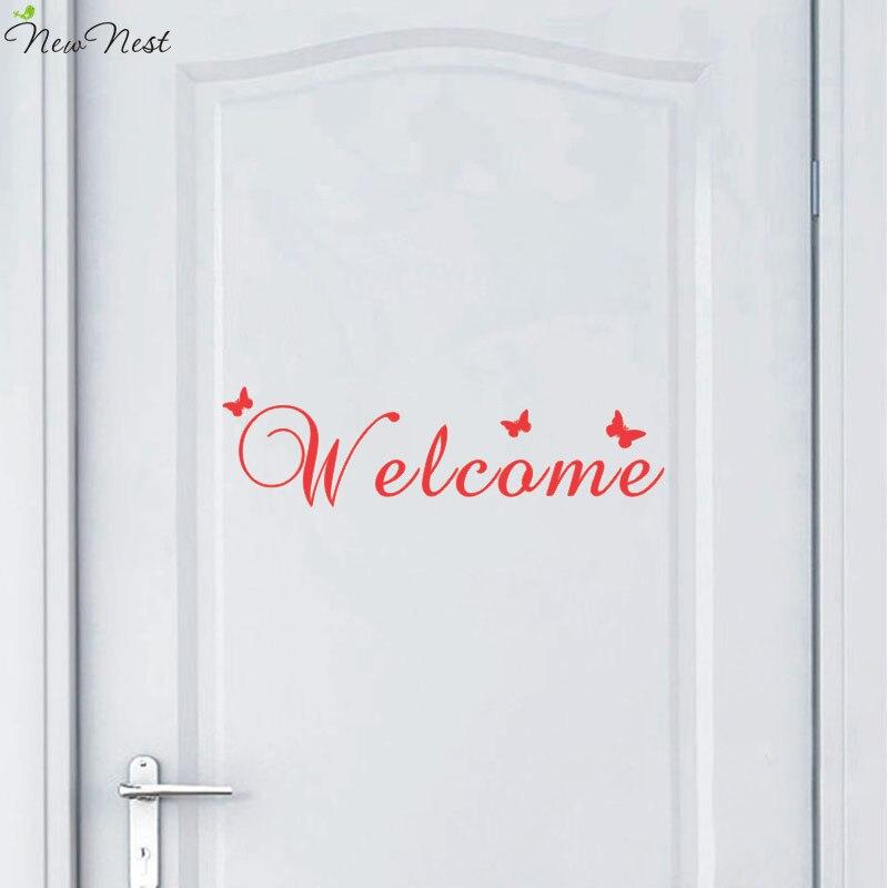Welcome Door Vinyl Decal, Welcome Front Door Decals With Butterflies  Sticker Door Decal, Welcome Sticker, Vinyl Decal Door Decor