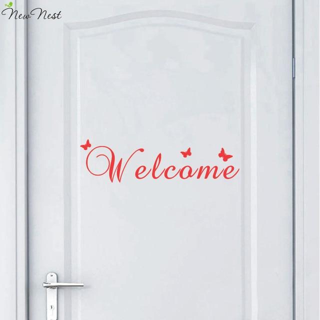 Welcome Door Vinyl Decal, Welcome Front Door Decals With Butterflies  Sticker Door Decal, Welcome
