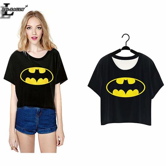 a57f08e89736d Lei-SAGLY 2018 Black Batman Mark Circle Punk Harajuku T-shirts Crop Tops  Short