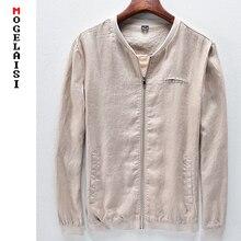 Брендовая куртка Для мужчин одноцветное белье груди 106-122 см Для Мужчин's Куртки хлопок осень Лен человек пальто куртка на молнии Весна азиатский размер M-3XL