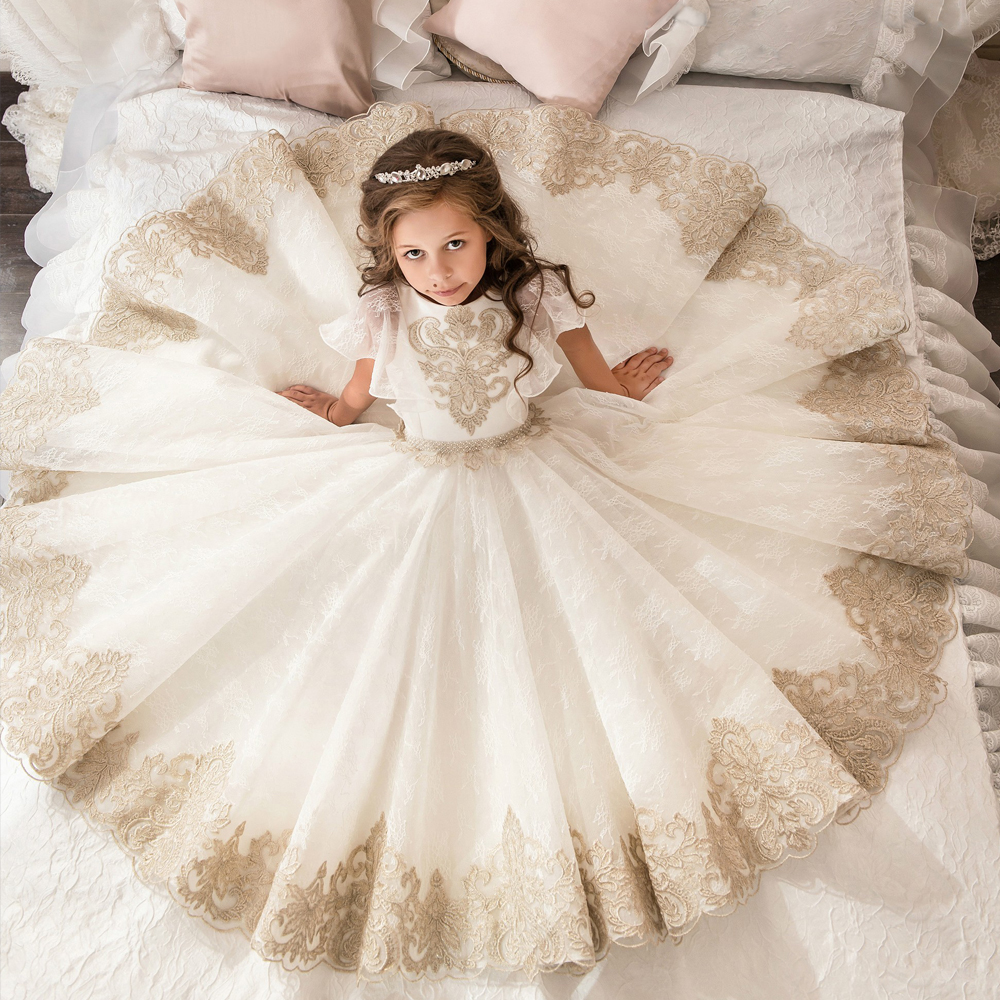 Aliexpress.com : Buy Fancy Flower Girl Dress Gold Appliques Formal ...