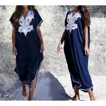 2019 Summer Plus Size Kaftan Cotton Beach Dress Women Cover Up Long Maxi Robe Bohemian Casual Embroidery Sundress