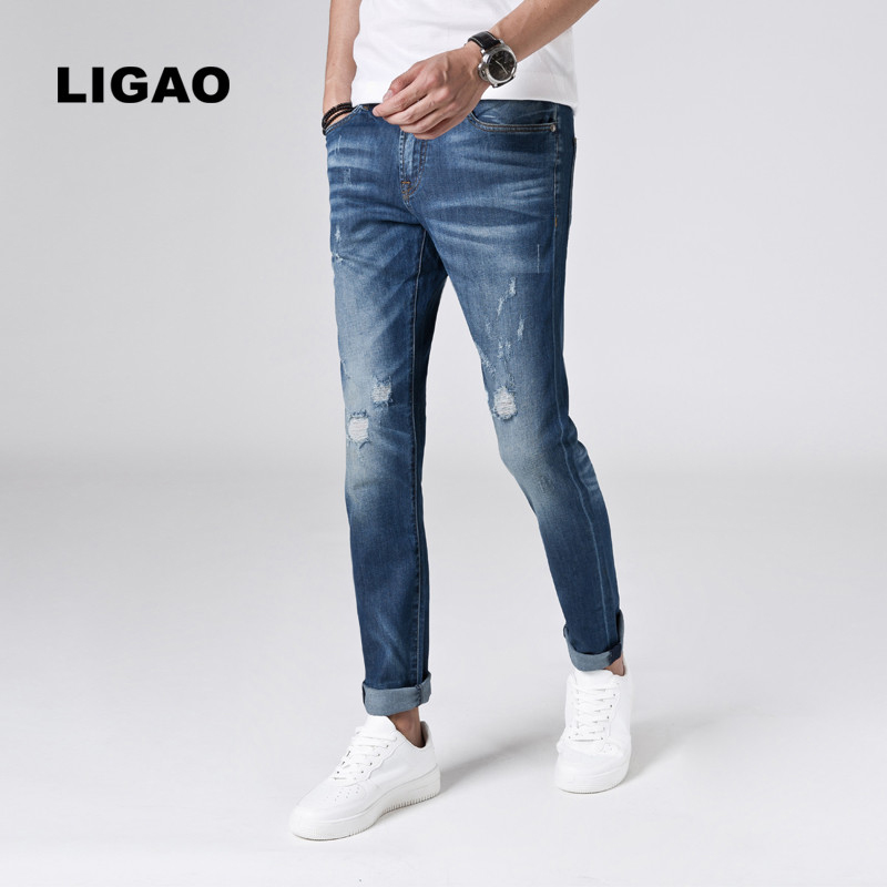 LIGAO Mens Jeans 2018 Slim Lightweight Breathable Patched Elastic Pencil Pants Fashion Beggar Scratched Ripped Hole Men Jeans