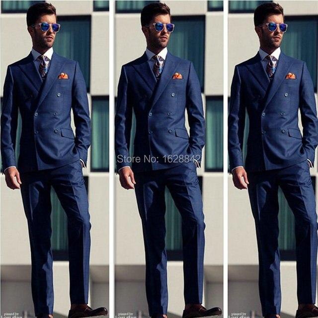 Moda Azul Marino Trajes de Doble Botonadura Trajes de Boda Para Los Hombres Por Encargo Del Novio Esmoquin Tailor Made Plus Tamaño Traje Homme