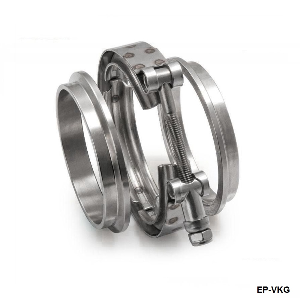 """PACK OF 2 Universal 3/"""" V-Band Exhaust Downpipe Clamp and Flanges Set"""