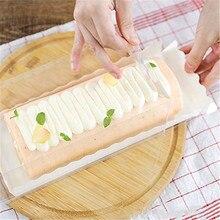 BBC прозрачная длинная пластиковая коробка для торта с белыми вставками для швейцарского рулона, 5 комплектов
