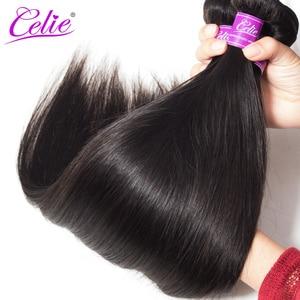 Image 4 - Celie düz saç demetleri brezilyalı saç örgü demeti fırsatlar 3/4 adet Remy saç ekleme insan saç demetleri