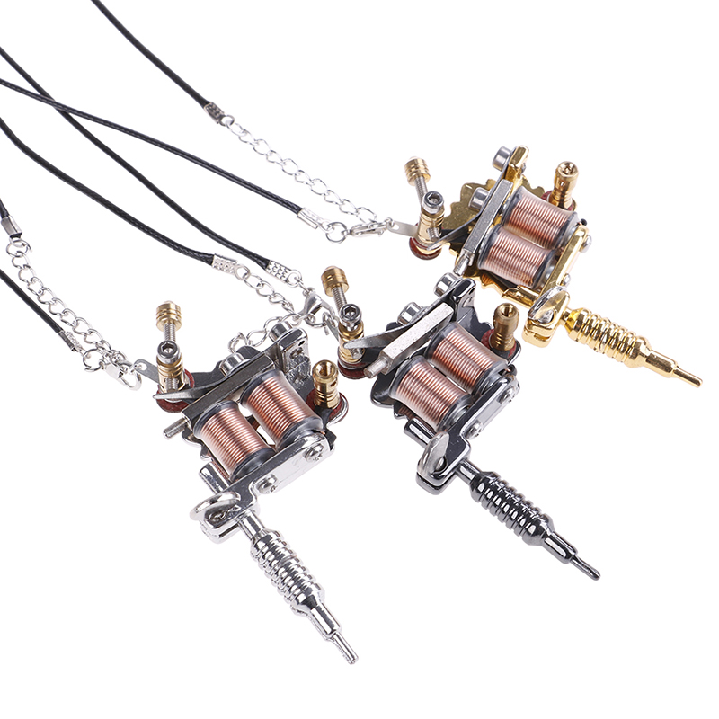 Tattoo gun Necklace Silver Tone Vintage Style 1pcs MINI tattoo machine Silver NEW Tattoo Machine for Jewellery Decor