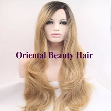 wholesale heat resistant Premium blonde ombre wig dark root long natural body wave wigs Brazilian Hair synthetic lace front wig