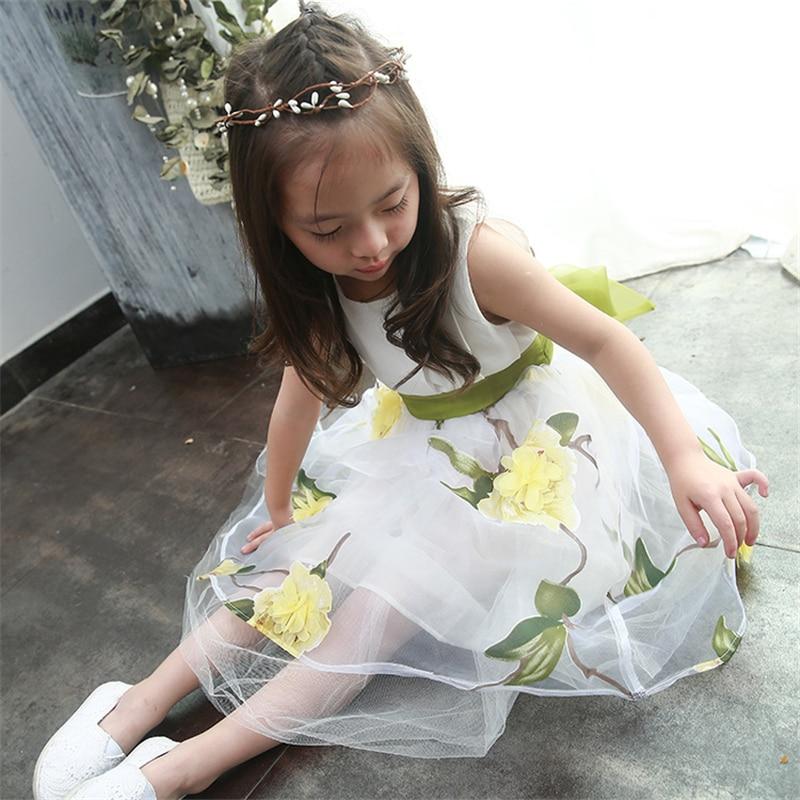 Ζωή Saldana 2018 Παιδικά Ρούχα Floral Printed Φορέματα Princess ... d76565cca9d