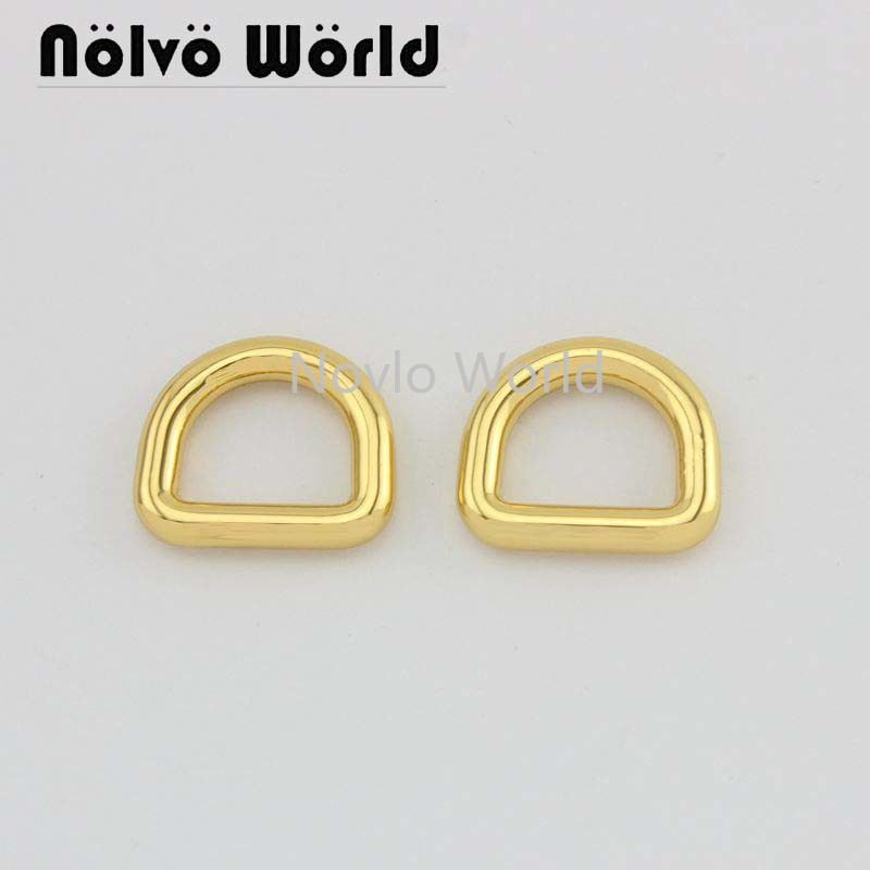 Wholesale 500pcs, 4 Colors Accept Mix Color, 15*12mm 1/2 Inch, Metal D Ring D Hooks  Handbag Purse D Ring Diy Hardware Accessory